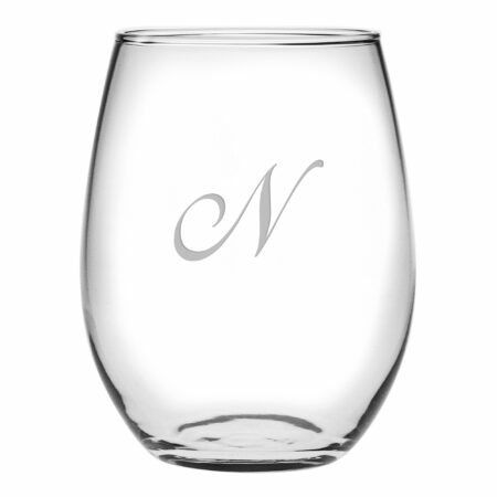 Single Initial Script font on Stemless Wine