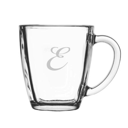 Single Initial Script font on Glass Mug