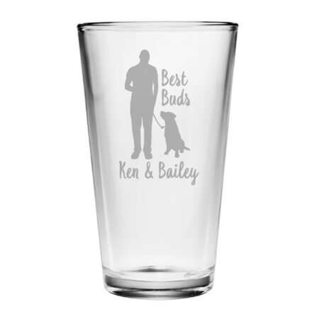 Best Buds Pint Glass Human and his dog