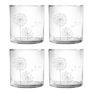 Dandelion design on whiskey DOR glasses