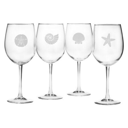 Seashore Assortment on white wine glasses