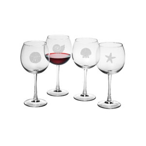 Seashore Assortment on red wine glasses