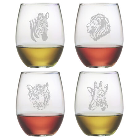 Safari Assortment on a 15 oz stemless wine glass
