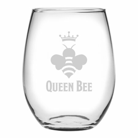 Queen Bee on Stemless wine glass