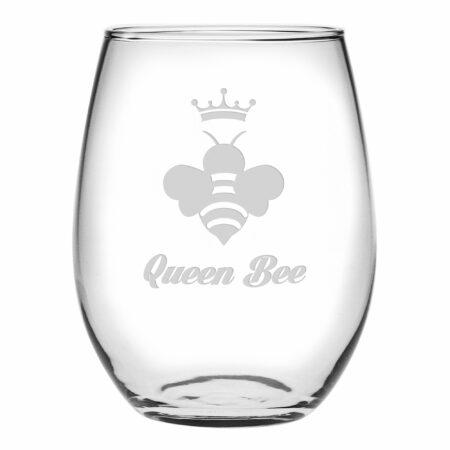 Queen Bee script font stemless wine glass