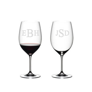 Riedel Red Wine Stemmed - Triple Blocked Lettering Monogram - Set of 2