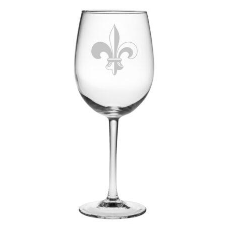 Fleur De Lis Stemmed Wine Glass