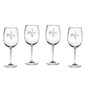 Fleur De Lis Stemmed Wine Glasses set of four