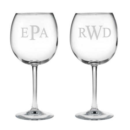 Balloon Red Wine Glasses with Triple Block Monogram