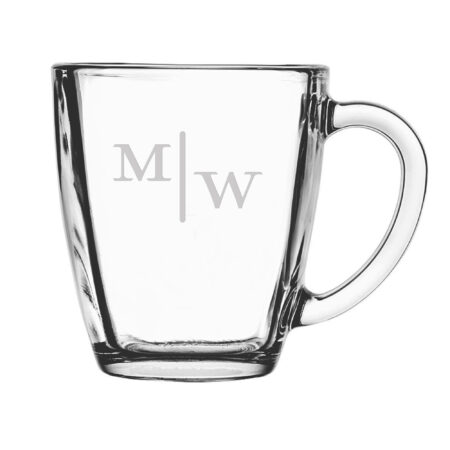 Quinn two letter initials on glass mug