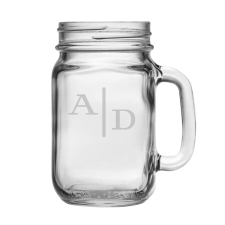 Quinn two letter initials on a handled mason jar